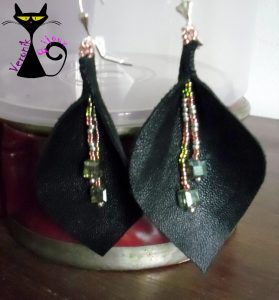 Boucles d'oreilles cuir noir