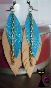 Boucles d'oreilles plumes en cuir